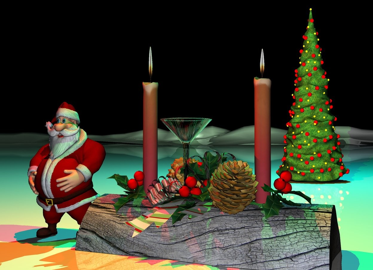 Input text: the small martini glass is on the yule log.  the very tiny santa is  next to the log.  the shiny mountain range is white.   the tiny christmas tree is three feet behind the log. it is night.  the green light is above the log. the red light is above the santa. a cyan light is  above the tree.