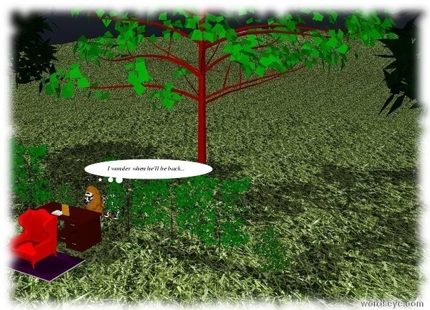 Input text: A desk is on a mountain range.  The ground is red grass. There are 3 trees 5 feet behind the desk. There are 5 bushes 2 feet in front of the trees. Two books are on the desk. A red chair is in front of the desk. There is a purple rug under the chair. A camouflage lion is 1 foot behind the desk.