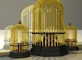 There is a big gold cage. A leopard fits in the cage. The ground is gray and the sky is black. There is an gold cage to the right of the cage.  A tiger fits in the cage. There is a gold cage to the left of the big cage. A cat fits in the cage. There is a gold light two feet above the big cage. There is a gray wall behind the cages. It is reflective.