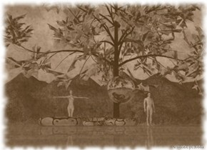 the large snake is in front of  the fire tree. A man and woman are 10 feet apart and  5 feet behind the tree. The giant silver moon is 3 feet above the ground. The moon is in front of the tree