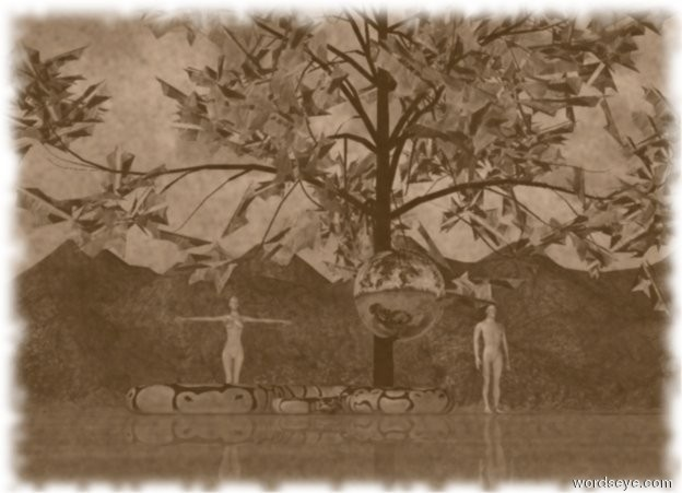 Input text: the large snake is in front of  the fire tree. A man and woman are 10 feet apart and  5 feet behind the tree. The giant silver moon is 3 feet above the ground. The moon is in front of the tree