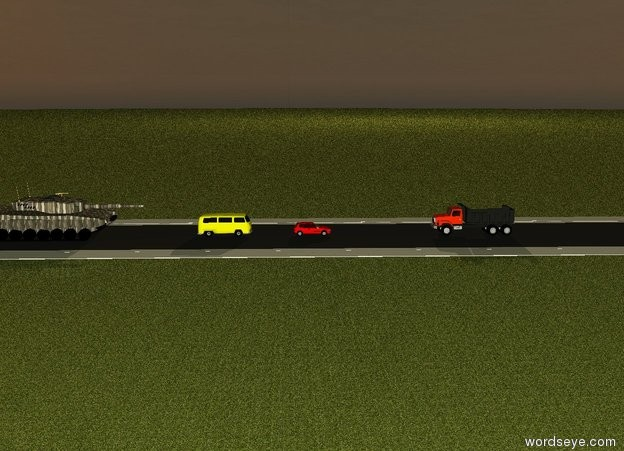 Input text: The ground is grass. there is a 100 meter long 20 meter wide road.  there is a red car on the road. a truck is 10 meter in front of the red car. the truck is facing north. 4 meter behind the red car there is a  yellow van. a [camouflage] huge tank is 5 meter behind the yellow van.  it is dawn.