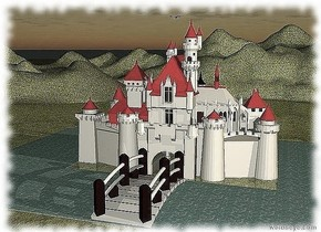 there is a castle . the roof of the castle is red. the cap of the castle is red. the steeple  of the castle is red.  the door of the castle is brown. the window   of the castle is cornflower blue. the greenhouse of the castle is red. the castle is cotton cream.  there is a river  behind the castle. the river is facing left. the river is 60 meter long.  a river is to  the left of the castle. the river is 40 meter long.  a river is to  the right of the castle. the river is 40 meter long.  a river is in front  of the castle. the river is 60 meter long. the river is facing left.  there is a bridge above the river.  the bridge is 15 meter long. the bridge is facing left.  the ground is grass.   there is an eagle above the castle.  it is dawn.