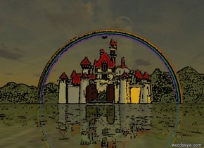 there is a castle . the roof of the castle is red. the cap of the castle is red. the steeple  of the castle is red.  the door of the castle is brown. the window   of the castle is cornflower blue. the greenhouse of the castle is red. the castle is cotton cream.  there is a river  behind the castle. the river is facing left. the river is 60 meter long.  there is a big rainbow behind the river.  a river is to  the left of the castle. the river is 40 meter long.  a river is to  the right of the castle. the river is 40 meter long.  a river is in front  of the castle. the river is 60 meter long. the river is facing left.  there is a bridge above the river.  the bridge is 15 meter long. the bridge is facing left.  the ground is grass.   there is an eagle above the castle.  it is dawn.