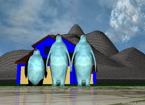 3 large water penguins are in front of a blue house. The ground is pink grass. Behind the house is a giant dirt mountain.
