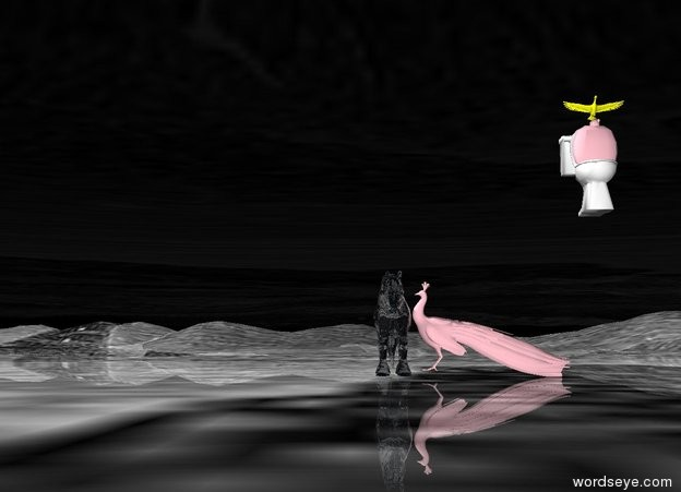 Input text: ground is golden sea. the  pink cactus  is 2 meters above the ground. yellow bird is above the pink cactus. The pink cactus is in the toilet. The pink bird faces the yellow bird. there is transparent horse. a pink bird faces the transparent horse. the sky is transparent.