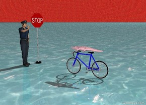 tiny pink crocodile riding a 10 speed bicycle . the ground is water . the sky is made from fire . a policeman facing crocodile is 5 feet in front of the bike . a stop sign facing crocodile is to the left of the policeman