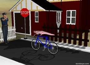 tiny pink crocodile riding a 10 speed bicycle. the ground has grass texture . a policeman facing crocodile is 5 feet in front of the bike . a stop sign facing crocodile is 3  feet to the left of the policeman. a city street is beneath the bike. a house facing the stop sign is 7 feet to the left of the policeman. a picket fence facing the crocodile is 6 feet to the left of the bike. a picket fence facing the crocodile is 1 feet in front of the policeman.