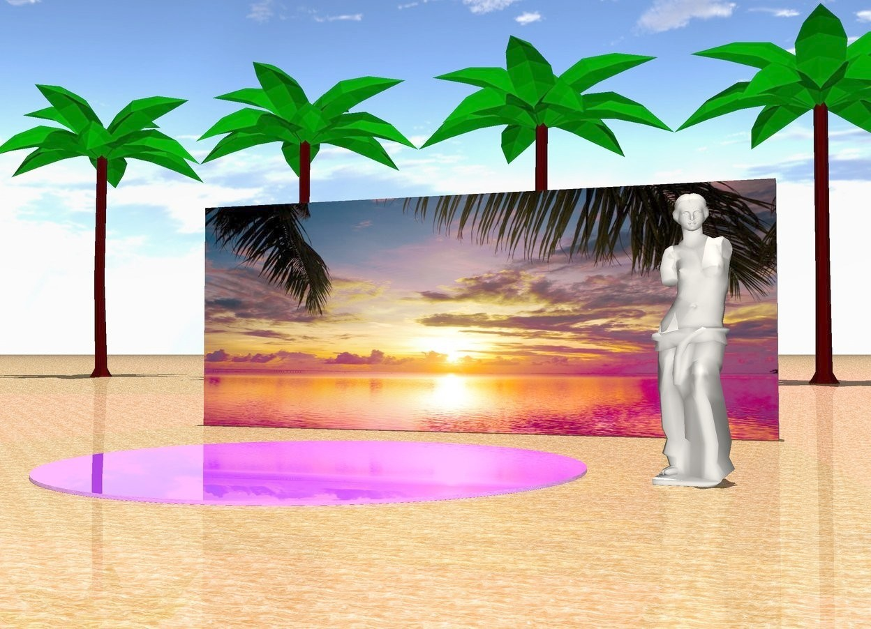 Input text: It is noon. There is marble texture on the ground. Six large green coconut palm trees. The purple light is two feet above the trees. There is a large [image-22] wall one hundred feet in front of the trees. There is a tiny shiny blue violet lake ten feet in front of the wall. The large cotton cream statue is three feet to the right of the lake.
