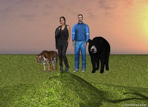 a woman on big grassy hill. the ground is grass. next to the woman is a tiger. There is a man on the right side of the woman. There is a bear on the right side of the man.
