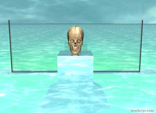 Input text: there is a large silver cube. the large skull is on top of the cube. it is noon. there is a small transparent wall two feet behind the cube. the green light is one foot over the wall. the ground is water. the water texture is on the sky. the texture is 4500 feet wide.