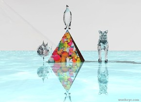 the big [parrot] pyramid is big .the sky is shiny [diamond]. the shiny ground is water. the transparent fish is 1 inch to the left of the big  [parrot] pyramid.  small transparent cat is 10 inch to the right of the big [parrot] pyramid. small transparent bird is above the [parrot] pyramid