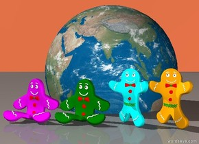the magenta gingerbread man is next to the green gingerbread man. The green gingerbread man is next to the cyan gingerbread man. The cyan gingerbread man is next to the orange gingerbread man.  the earth is 4 inches behind the gingerbread men. it is 9 inches in the ground.   the coral sky.
