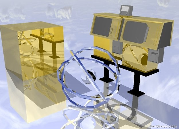 Input text: the large silver atom is several inches in front of the large gold vending machine. atom is facing right. the ground is shiny. the huge gold cube is 4 feet to the left of the atom.
