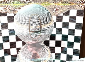 The sky is checkerboard.  The ground is reflective.  There is a giant reflective sphere 3 feet in front of a giant mirror.  There is a teal light 2 feet above the sphere.