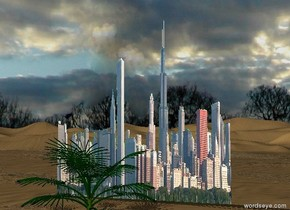 A giant city in the desert. The sky is cloudy. There are 4 palm trees in front of the city.