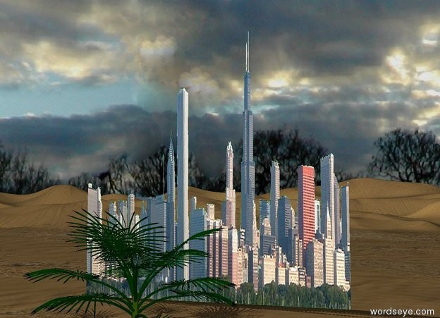 Input text: A giant city in the desert. The sky is cloudy. There are 4 palm trees in front of the city.