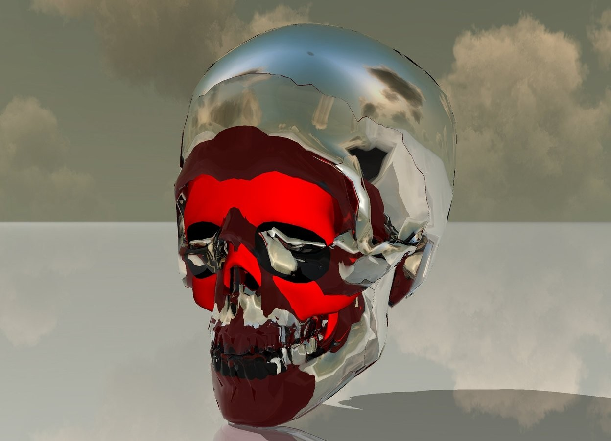 Input text: there is a 6 feet tall black skull. its tooth is red. there is a 6.5 feet tall clear skull -5 feet behind it. there is a 7 feet tall silver skull -5.3 feet behind the clear skull.. the ground is shiny.