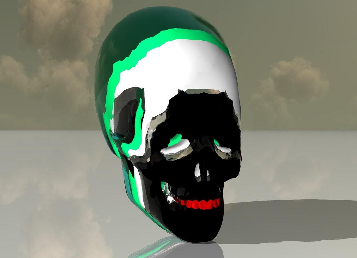 Input text: there is a 6 feet tall black skull. its tooth is red. there is a 6.5 feet tall clear skull -5 feet behind it. there is a 7 feet tall silver skull -5.3 feet behind the clear skull.. the ground is shiny. there is a 7.5 feet tall white skull -5.6 feet behind the silver skull. there is an 8 feet tall spring green skull -5.7 feet behind the white skull. there is an 8.5 feet tall clear aqua skull -6.1 feet behind the spring green skull.