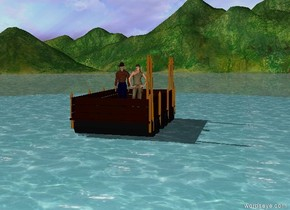 boat is on a lake. there is a man on the boat. there is a woman on the boat.