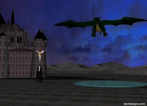 Input text: the angel is one foot above the vampire. the large dragon is five feet to the right and five feet above the angel. the castle is twenty feet behind and ten feet to the left of the vampire. The castle is stone. A pond is fifteen feet to the right of the vampire. The ground is black dirt.