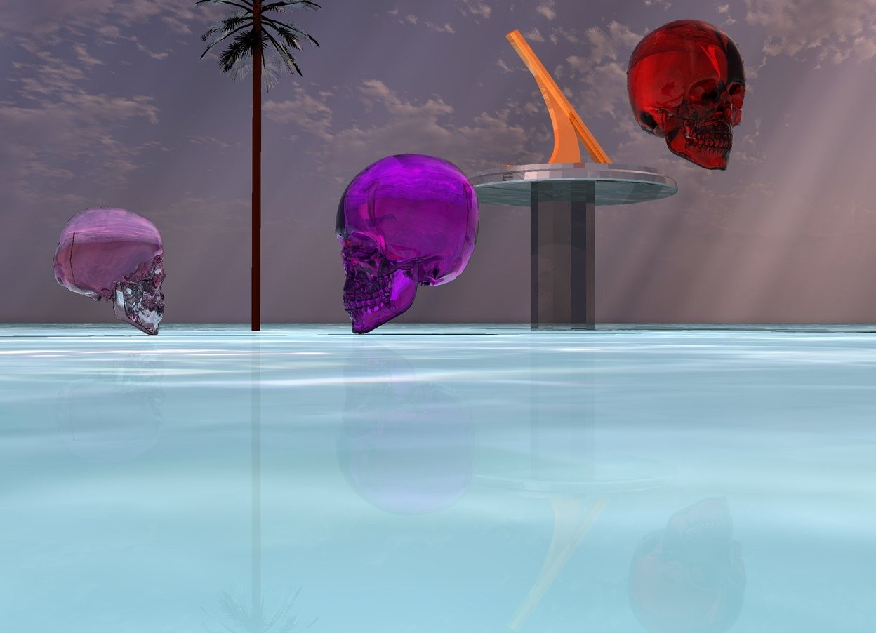 Input text:  a large magenta translucent skull is facing west. the pink light is 3 feet above the translucent skull. a clear hot pink skull is 1.5 feet south west of  the large translucent skull. the clear skull faces east. the ground is water. a clear palm tree is 5 feet tall. the clear palm tree is 3 feet north of the large magenta translucent skull. a large shiny sun dial is next to the clear palm tree. the large shiny sun dial is 1.75 feet in the ground. the large shiny sun dial is 3 feet south east of the clear palm tree. a large light red translucent skull is above the large magenta translucent skull. the large light red translucent skull is two feet north east of the large magenta translucent skull. the sun is pink.