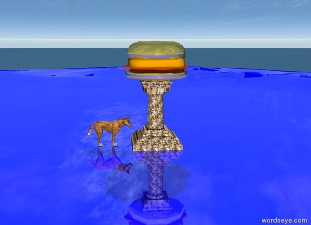 Input text: The ground is shiny blue. The tall marble pedestal is on the ground. The gigantic shiny golden burger is on the pedestal. The large dog stands in front of the pedestal. The large dog faces the pedestal. The text I am hungry hovers above the burger.