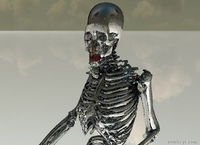 there is a clear skeleton. its tooth is red. there is a 6.1 feet tall silver skeleton -27 inches behind it. there is a 6.2 feet tall shiny black skeleton -28 inches behind the silver skeleton. the ground is shiny.