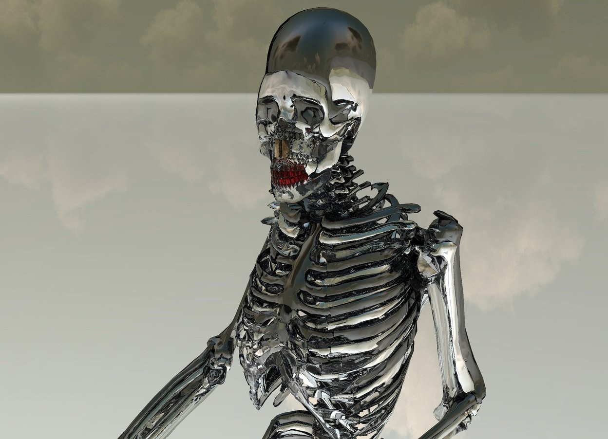Input text: there is a clear skeleton. its tooth is red. there is a 6.1 feet tall silver skeleton -27 inches behind it. there is a 6.2 feet tall shiny black skeleton -28 inches behind the silver skeleton. the ground is shiny.