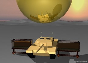 enormous golden sphere is two feet above three tanks
