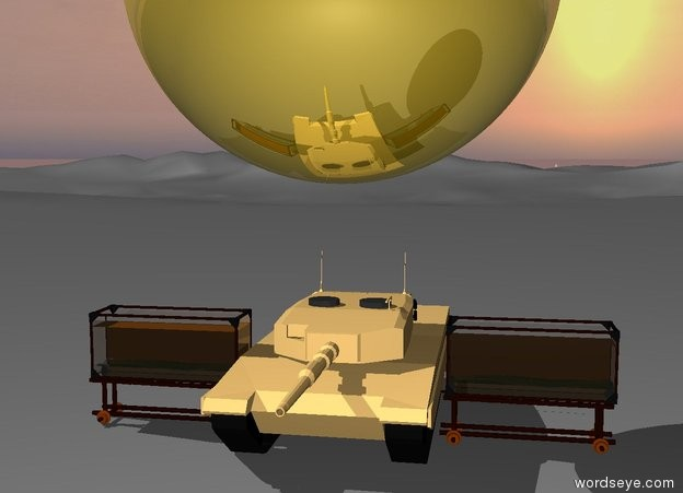 Input text: enormous golden sphere is two feet above three tanks