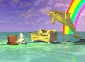 the golden dolphin. there is a small couch in front of dolphin. small dog is on couch.  the ground is water.  small rainbow is 35 feet behind the couch.  small bust is 2 feet in front of couch. the small computer is in front of bust. it is facing the bust.  a big flower.  a  teacup right of the bust.   yellow light is above the computer.