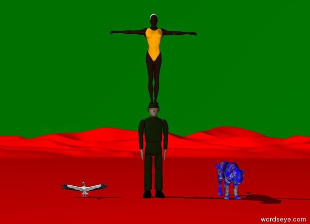 Input text: An orange woman is on a man. The sky is green. The ground is red. A bird is on the ground. A blue and yellow tiger is one meter right of the man.