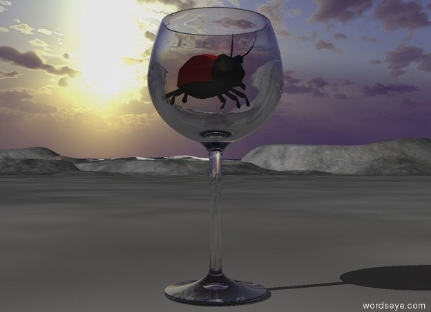 Input text: the glass is on the ground. the ladybug fits in the glass.