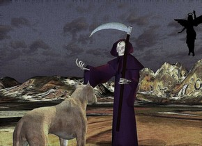 the large dog is in front of the purple grim reaper. the grim reaper is on the very tall mountain range. the dog is facing the grim reaper.  the hell texture is on the mountain range. it is 30 feet wide.  the green light is 3 feet above the dog.  the yellow lights are 1 foot above the grim reaper.  the blue light is a foot in front of the grim reaper. it is 4 feet above the ground. three orange lights are above the cyan light.  the black angel is 20 feet behind the grim reaper. it is 8 feet above the ground. it is left of the dog.