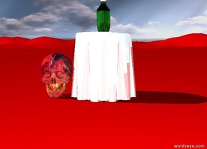The small shiny table is on the red ground. bottle on the table.   [jewel] skull