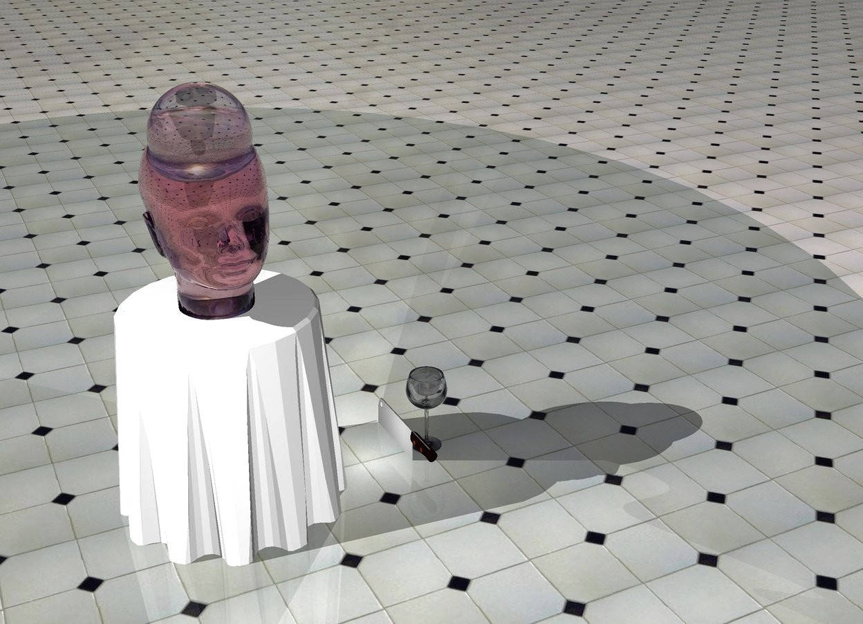 Input text: The clear pink head fits in the table. A large knife is 1 feet to the right of the table .1 feet in the ground. The knife is facing left. The ground is floor. A white light is left of the knife. A pink light is above the head. A large wine glass is left to the knife. A clear sphere fits in the head.