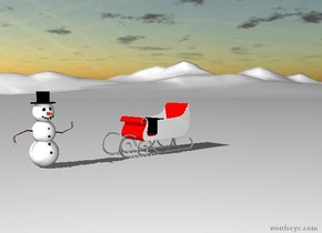 The red sleigh is on the large snow mountain range. The snowman a few feet to the left of the sleigh. The sleigh faces the snowman. The ground is snow.