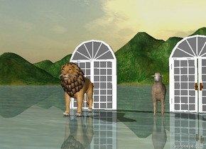 A lion is in front of a door. A sheep is several feet to the right of the lion in front of a door.  The door is several feet to the left of the door.