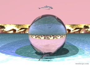 The very wide mirror is on the sea.   A small transparent dolphin is next to the huge transparent ball.  Two small transparent dolphin is  right of the  huge transparent ball. A small transparent dolphin is  left of  the  huge transparent ball. The transparent small dolphin is in the huge transparent ball.  The mirror is facing right .  The blue violet light is 1 foot above the transparent small dolphin .  A pink light is a foot right of the transparent small dolphin .  A pink light is in front of the transparent small dolphin.  A pink light  is in the background. Sky is pink