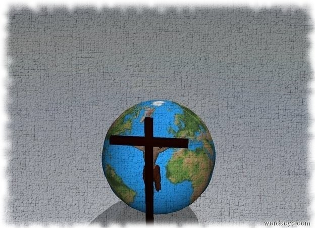 Input text: The cross is facing the huge globe.