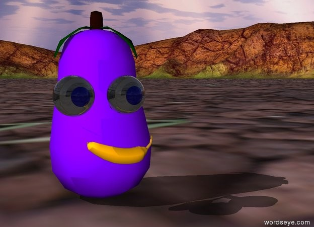 Input text: the eggplant. the tiny banana is in front of the eggplant. it is facing left. it is 2 inches above the ground. 2 eyes are 1 inch above the banana. they are .5 inches apart.