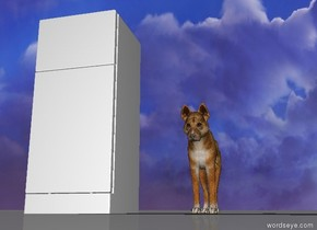 a fridge is two feet to the left of a dog.