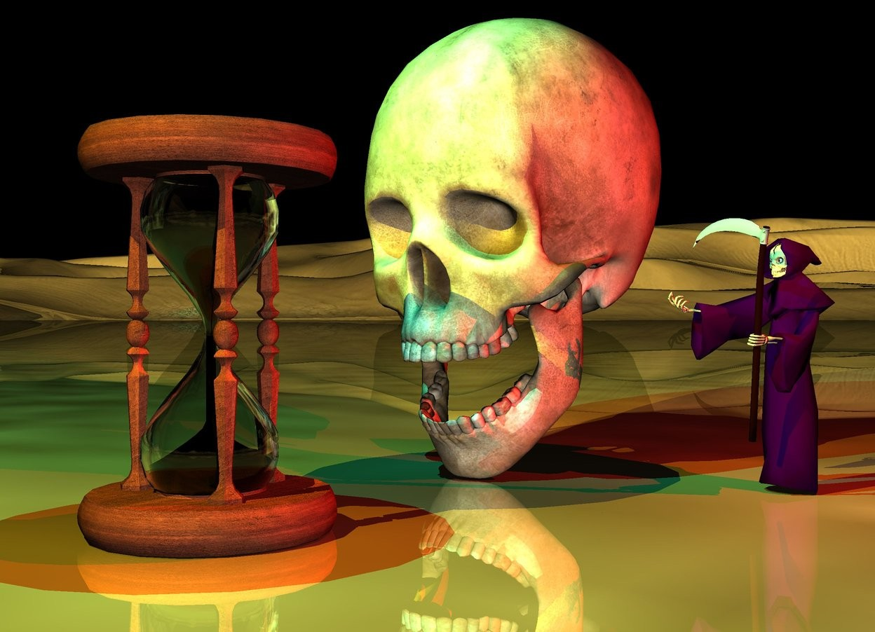 Input text: the skull is 3 inches right of the small hourglass.  the skull is facing to the left.  the ground is shiny.  a cyan light is above the hourglass. the red light is in front of the skull. it is night. a yellow light is to the left and above the hourglass.  the 5 inch tall grim reaper is an inch in front of the skull. it is facing the hourglass. it is purple