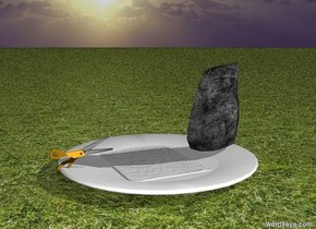Small rock, big paper and big scissors are on huge white plate. It is morning. Ground is grass.