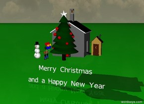 "It is winter. The ground is green. There is a big Christmas Tree.  Left of the tree are children. Left of the children is a snowman. Behind the tree is a small school. right of the school is a shelter. there is ""Merry Christmas"" two feet under the tree.  There is ""and a Happy New Year"" two feet under ""Merry Christmas""."
