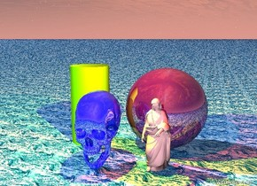 The huge shiny purple sphere is behind the small pink woman.  the huge shiny blue skull is one foot to the left of the woman.  the yellow light is two feet above the skull.  the red light is two feet above the woman.  the huge chartreuse cylinder is one foot to the left of the sphere.  the ground is water.