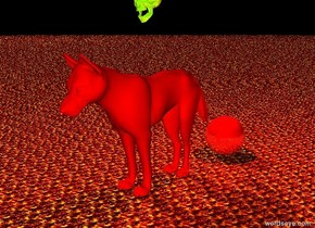 the huge red dog is one foot in front of the huge shiny red sphere.  the ground is fire.   the sky is black.  the red light is two feet above the sphere.   the huge shiny chartreuse skull is two feet above the dog.