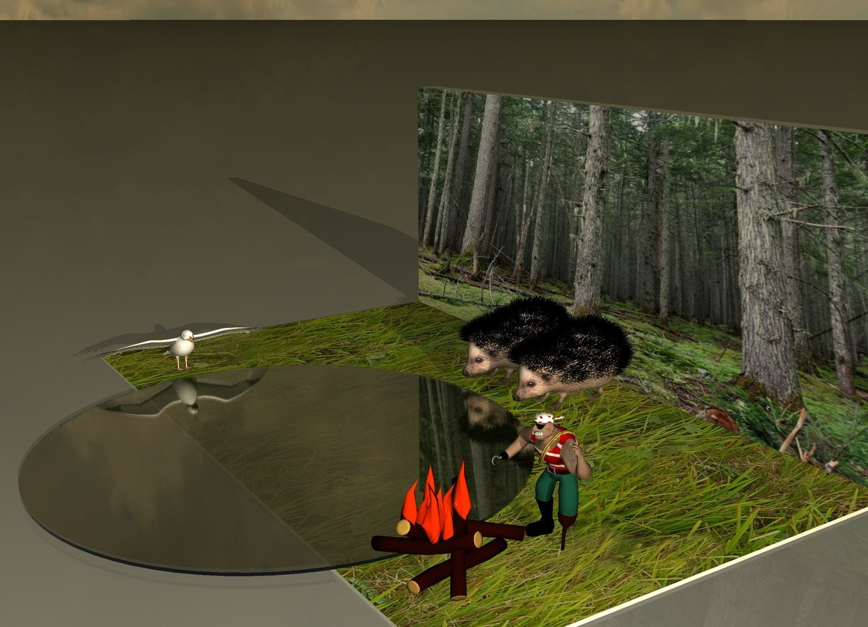 Input text: Two giant hedgehogs are on the floor. The floor is grass. There is a very tiny transparent lake in front of hedgehogs. There is a giant seagull next to the lake. It is facing the lake. The [forest] wall is behind the hedgehogs. It is dawn. There is a campfire to the right of the lake. There is a small human behind the campfire.
