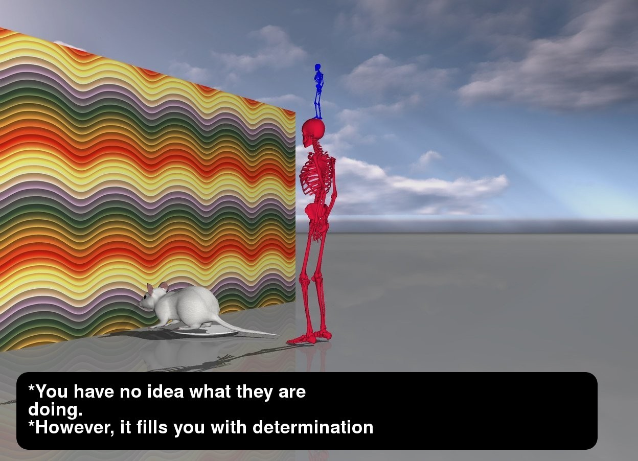 Input text: a short light blue skeleton is standing  on a tall crimson skeleton. the tall crimson skeleton is ten feet behind a large rainbow wall. there is a humongous mouse on top of a giant plate one centimeter in front of the tall crimson skeleton